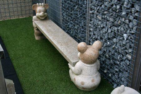 "Natuursteen Bank, massief Graniet ""Mickey en Minnie, lengte 200 cm"