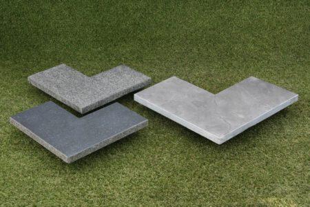Hoekstuk basalt gevlamd / gezoet 20 cm breedt