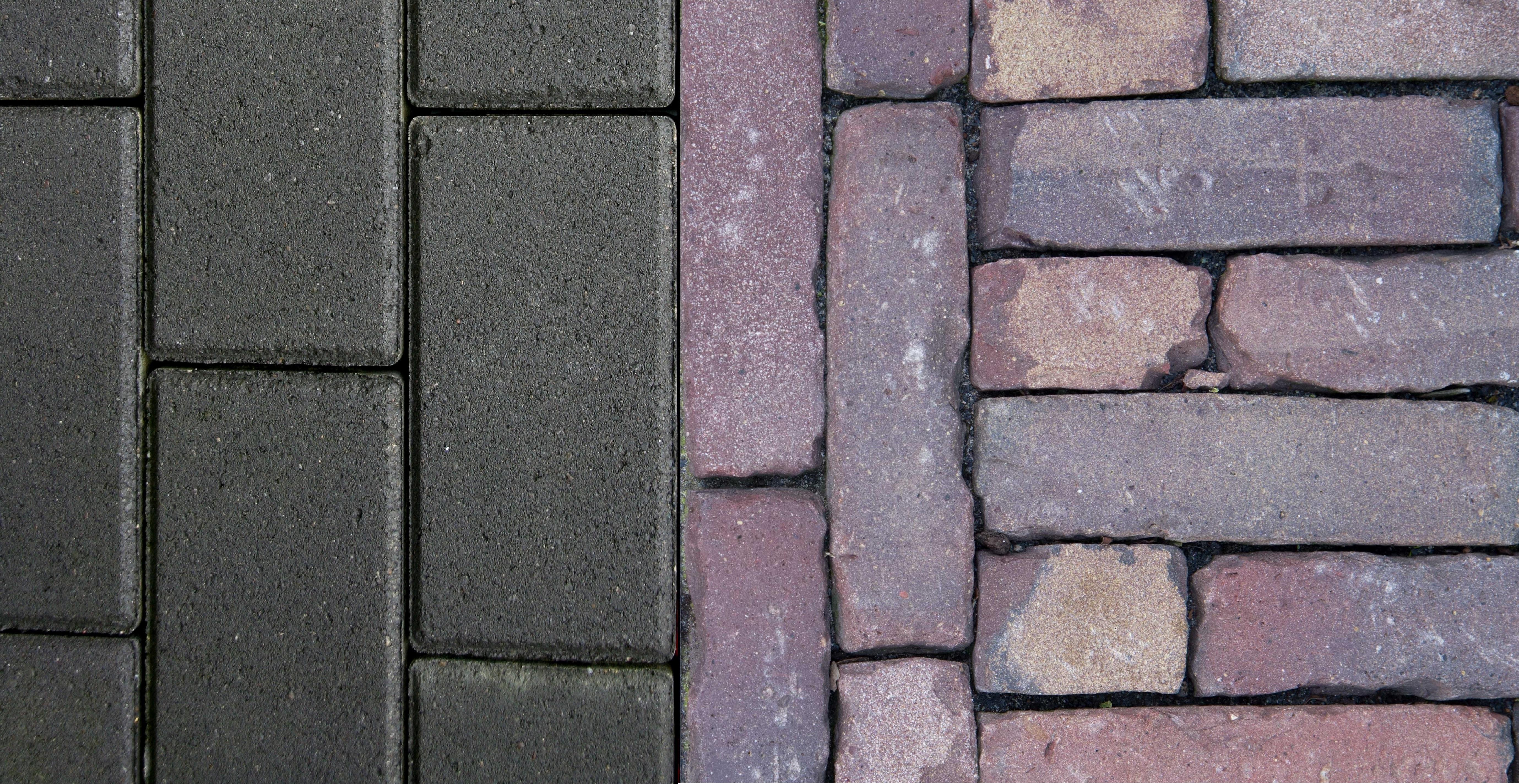 Het verschil tussen betonklinkers en gebakken klinkers van harn - Grijze kleur donkerder ...