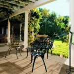 Outdoor Patio With Wrought Iron Dining Set